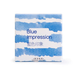 """Blue Impression"" Paper Stickers - Set of 45"