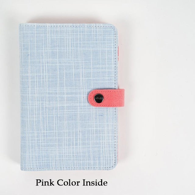 Sky Blue Cloth Patterned Planner Cover - Coral Snap Closure - Large + Small