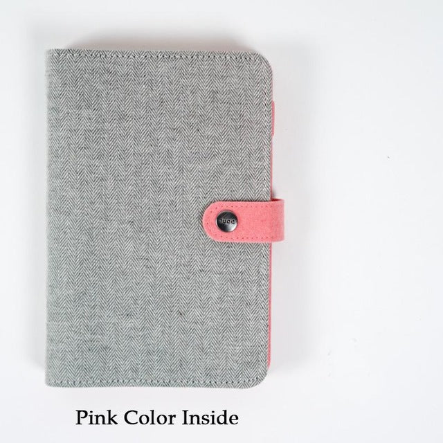 Light Grey Cloth Planner Cover - Snap Closure - Large + Small
