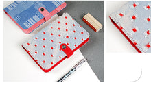 """Red Hollow"" Denim Cotton Planner Cover - Snap Closure - Large + Small"