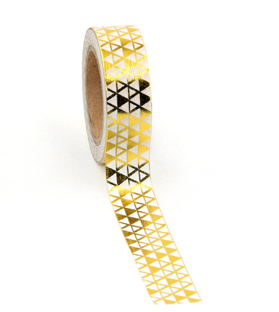 Mini Triangles - Gold Foil Washi Tape 1.5 cm