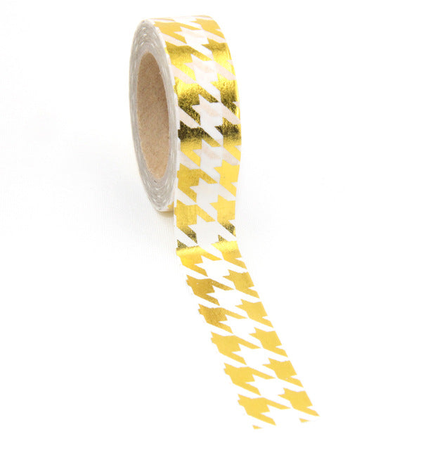 Houndstooth Gold Foil Washi Tape - 1.5 cm