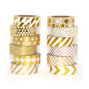 Polka Dots - Gold Foil Washi Tape 1.5 cm