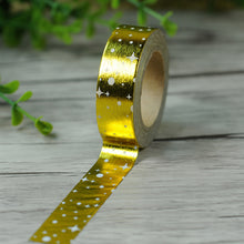 Gold Foiled Washi Tape - Solid Gold with Polka Dots - 1.5 cm x 10 m