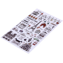 """Planning for Paris"" Assorted Sticker Sheet - Travel Themed Clear Backing Design"
