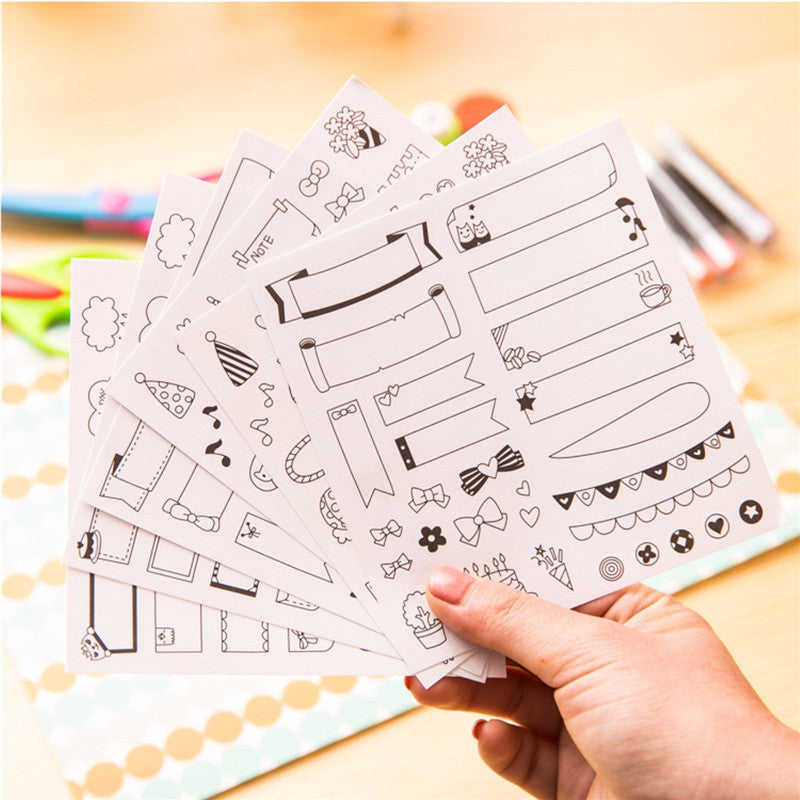 6 Sheets Plain Planner + Folder Labels - Self-Adhesive Stickers