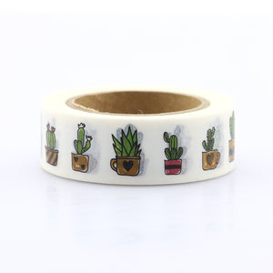 Cactus + Succulents Washi Tape - 1.5 cm x 10 m