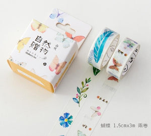 """Wild Thing"" Watercolor Floral Washi Tape Bundles - 2 Rolls/Pack, 12 Options"