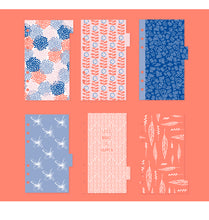Set of 6 Pinks + Blues Planner Page Dividers w/ Tabs - Size Small