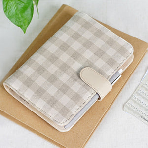 """Khaki Picnic"" Linen Fabric Planner Cover - Size Large + Small"