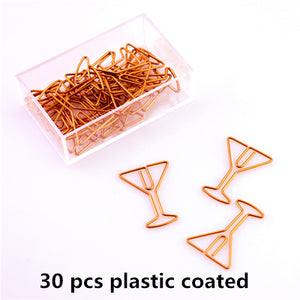 Rose Gold Iconic Shaped Paperclips - Sets of 30 - Seven Options