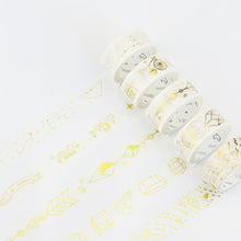 """Color Me Golden"" Thick + Thin Washi Tape - 10 Options - Constellations, Arrows, Patterns"