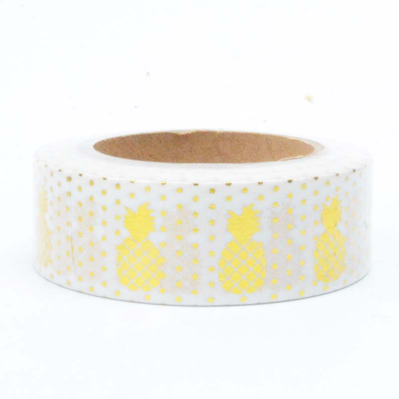 Gold Foiled Washi Tape - Pineapples + Polka Dots - 1.5 cm x 10 m