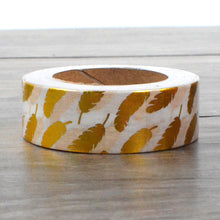 Foiled Gold Washi Tape - Feathers Pattern  - 1.5 cm x 10 m