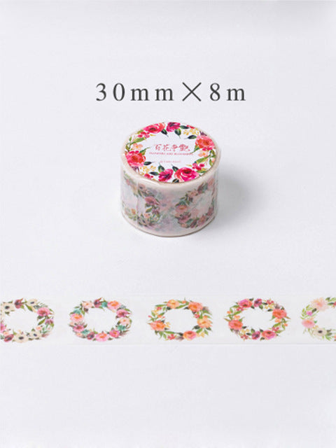 Warm Floral Wreaths Washi Tape - 30mm x 8m - Wide
