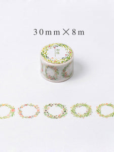 Dainty Spring Wreaths - Floral Washi Tape - 30mm x 8m - Wide