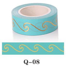 Gold Foil on Teal Washi Tape - Twelve Designs