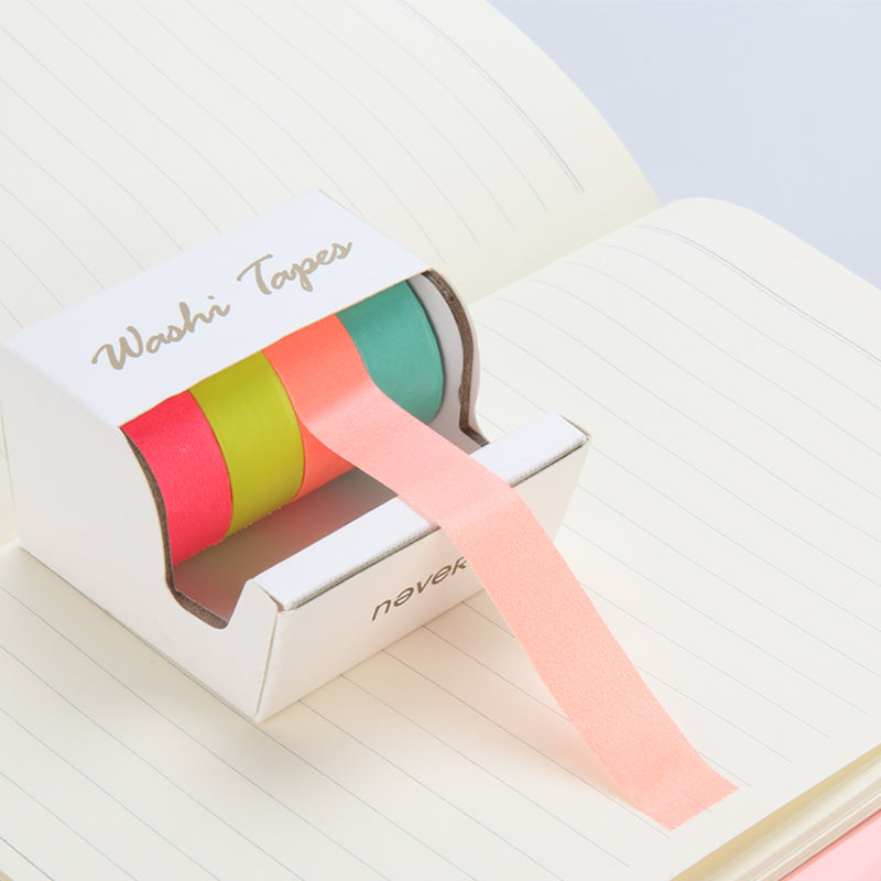 Five Piece Neon Washi Tape Rolls and Dispenser - Green/Pink/Orange/Yellow