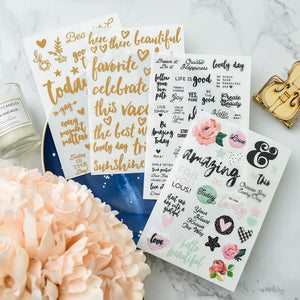 Calligraphy Planner Stickers - 4 Sheet Set