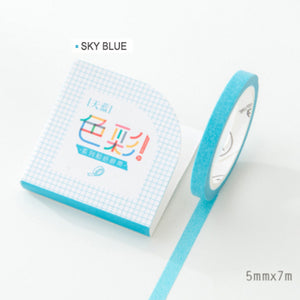 Sky Blue - Extra Thin Washi Tape - 5mm x 7m