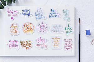 """Inspire Me"" Hand Lettered Calligraphy Stickers - Set of 45"