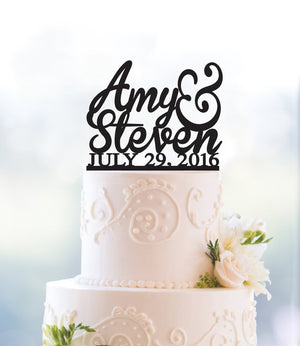 Custom First Name Cake Topper, Rose Gold Cake Topper, Gold Wedding Decor, Two Name Cake Topper, Personalized Wedding Cake Topper (T004)