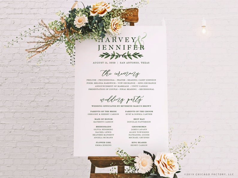 Acrylic Wedding Program Sign - Wedding Ceremony Signage (GP2035-A)