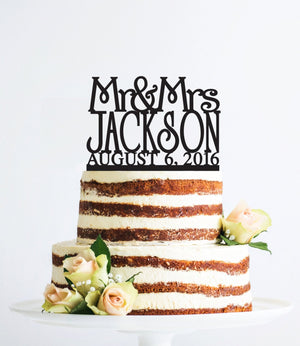 Mr and Mrs Cake Topper with Custom Date in your Choice of Colors, Personalized Last Name Topper, Elegant Bridal Gift, Modern Topper- (T010)