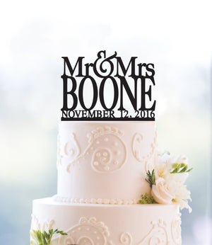 Modern Last Name Wedding Cake Topper with Date, Unique Personalized Wedding Cake Topper, Elegant Custom Mr and Mrs Cake Topper - (T015)
