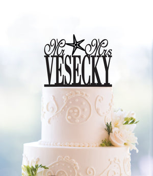 Beach Themed Wedding Cake Topper Destination Wedding Mr And Mrs Cake Topper Wedding Shower Last Name Topper Surname Topper Bridal (T034)
