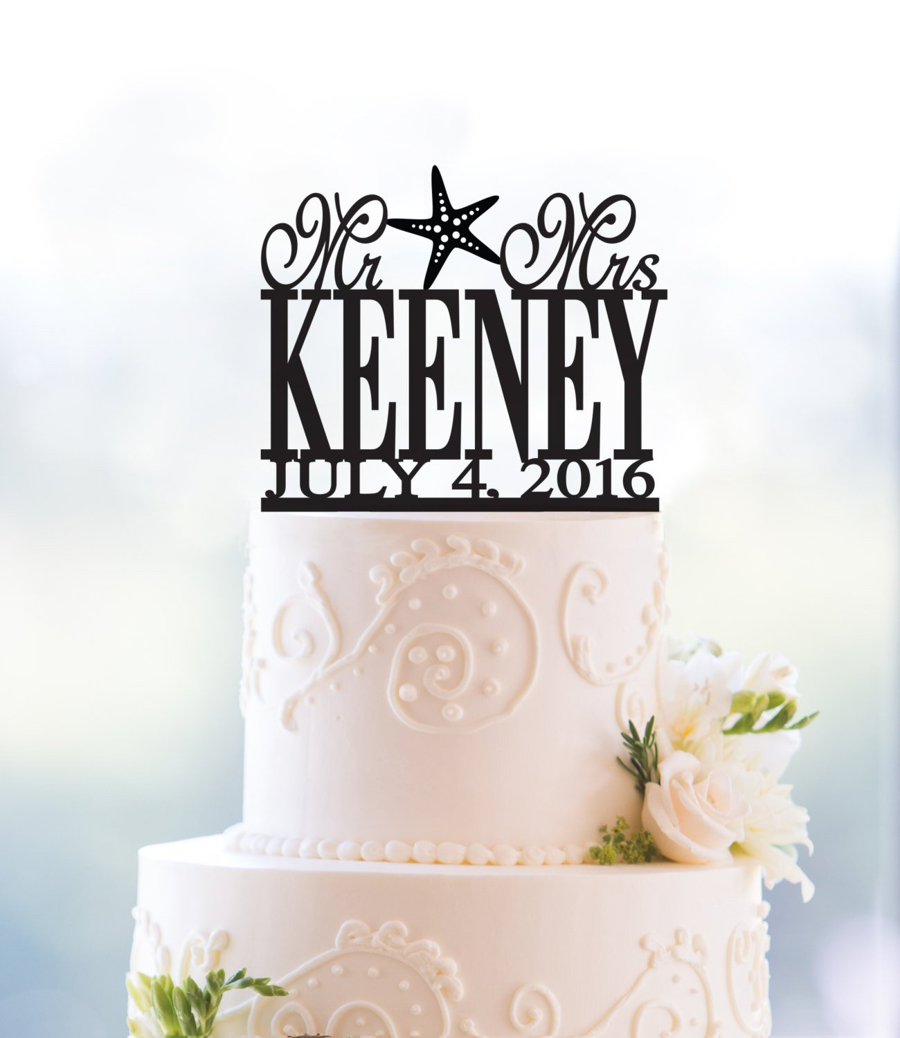 Beach Theme Mr And Mrs Last Name With Starfish Wedding Cake Topper With Date Personalized Cake Topper Summer Destination Wedding T035