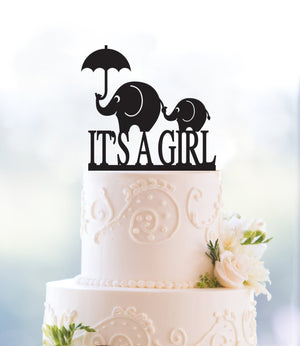 Custom It's A Girl Elephant Cake Topper, Cute Cake Topper, Charming Cake Topper, Baby Shower Cake Topper, Gender Reveal Topper (T043)