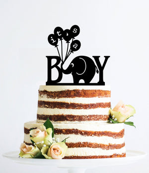 It's A Boy Cake Topper, Baby Cake Topper, Gender Reveal Cake Topper, Baby Shower Cake Topper, Elephant Topper, Cute Cake topper (T057)