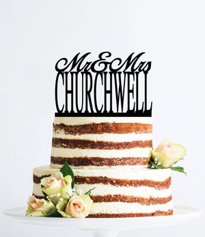 Personalized Last Name Wedding Cake Topper, Mr and Mrs Cake Topper, Custom Wedding Topper, Elegant Wedding Topper, Unique Topper- (T088)