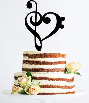 Gold Treble Bass Clef Heart, Music Cake Toppers, Music Wedding Cake Topper, Musician Wedding Cake Topper, Treble Clef Cake Topper (T065)