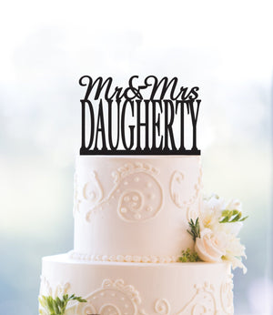 Gold Mr and Mrs Cake Topper, Personalized Name Cake Topper, Last Name Wedding Cake Topper, Engagement Cake Topper, Custom Cake Topper (T007)