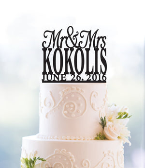 Chic Last Name Wedding Cake Topper with Date, , Elegant Mr and Mrs Wedding Cake Topper, Perfect Engagement Gift, Classic Stylish Top- (T017)