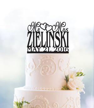 Custom Mr And Mrs Surname Cake Topper Last Name Cake Topper Gold Cake Topper Monogram Cake Topper Custom Wedding Name Cake Topper (T023)