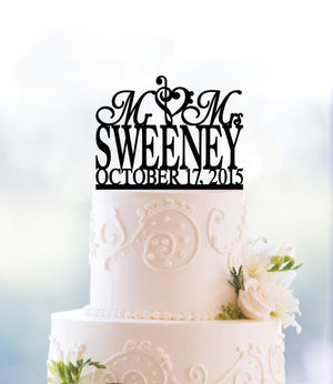 Musical Surname Topper Mr And Mrs Wedding Decoration Bridal Gift Custom Cake Topper Acrylic Cake Topper Wedding Gift Bridal Gift - (T037)