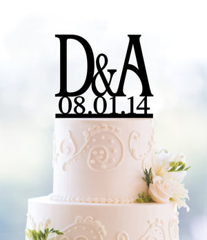 Two Initials Wedding Cake Toppers with Date, Initial Monogram Cake Topper, Perfect Engagement Gift, Unique Personalized Cake Toppers(T051)