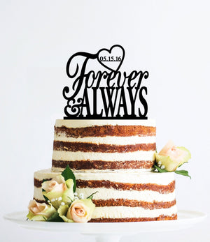 Forever and Always Heart Love Acrylic Cake Topper Custom Cake Topper Wedding Cake Bridal Shower Gift Bridal Shower Valentines Day (T064)