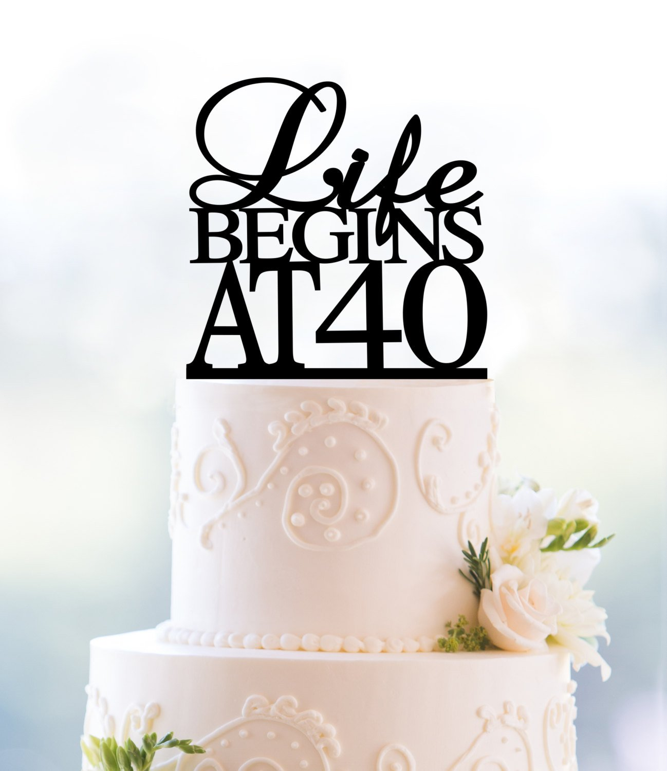 40th Birthday Cake Ideas.Gold Life Begins At 40 Cake Topper 40th Birthday Cake Topper 40th Party Decor Fortieth Cake Topper Glamour Party Decoration T089