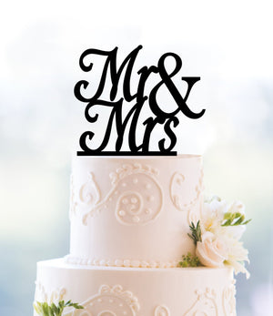 Custom Scripted Mr and Mrs Cake Topper, Calligraphy Wedding Cake Topper, Wedding Cake Decor, Acrylic Cake Topper, Gold Cake Topper (T105)