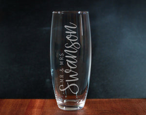 Mr and Mrs Last Name Champagne Glass (GG4005)