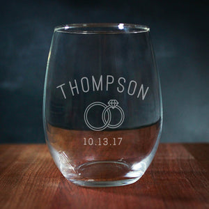 Wedding Stemless Wine Glass With Wedding Rings (GG4024)