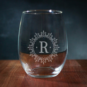 Couples Initials In Swirls Stemless Wine Glass (GG4028)