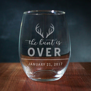 Rustic The Hunt is over Stemless Wine Glass (GG4037)