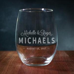 Personalized Couples Wedding Wine Glass (GG4038)