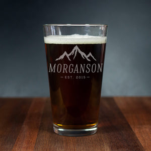 Personalized Mountains Pint Glass (GG4019)