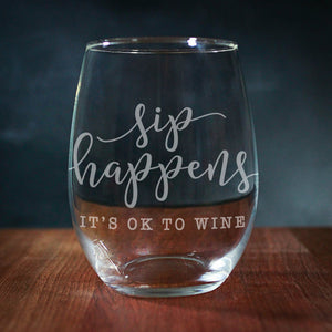 Sip Happens It's Okay To Wine Stemless Wine Glass (GG4041)